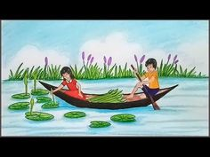 How to draw scenery of children collect water lily using boat step by step Drawing Pictures For Kids, Scenery Drawing For Kids, Drawing Lessons For Kids, Art Drawings For Kids, Painting For Kids, Cartoon Drawings, My Drawings, Art Lessons, Pencil Drawings