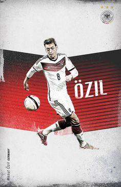 World Cup 2014 by Cristina Martinez, - Mezut Özil Football Is Life, Arsenal Football, Retro Football, Football Design, Arsenal Fc, Football Soccer, Soccer World, Soccer Fans, Soccer Players