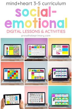 Need teaching strategies, lessons, and educational tools for teaching social and emotional skills online or in the classroom? Teach elementary social-emotional learning lessons (kindergarten, first, second, third, fourth, and fifth grade) in digital format to strengthen virtual learning, one-to-one classroom instruction, and in-person lessons with kids. Activities are fun, engaging, and ready to use in Google Slides, PowerPoint, and Seesaw. Self Control, Curriculum, Mindfulness, Activities, Digital, Resume, Teaching Plan, Consciousness