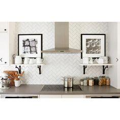 Herringbone Subway Tile, Beveled Subway Tile, White Kitchen Backsplash, Subway Tile Kitchen, Subway Tile Backsplash, Backsplash Ideas, Herringbone Pattern, Layout Design, Design Ideas