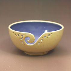 Yarn Bowl / Knitting Bowl / Crochet Bowl / Blue by andersenpottery,