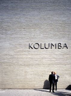 Kolumba Museum, Cologne _ by Swiss architect Peter Zumthor (Extra long bricks by Petersen Tegln) _ Peter Zumthor, Kolumba Köln, Kolumba Museum, Environmental Graphic Design, Environmental Graphics, Wayfinding Signage, Signage Design, Exterior Signage, Entrance Signage