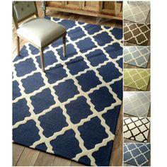 living room - nuLOOM Hand-hooked Alexa Moroccan Trellis Wool Rug (9'6 x 13'6)