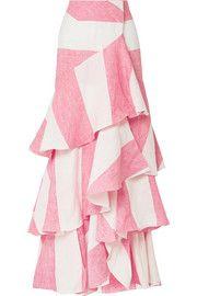 Johanna Ortiz Tabasco Ruffled Striped Linen Wrap Maxi Skirt Pink - Maxi Skirts - Ideas of Maxi Skirts Diy Maxi Skirt, Midi Skirt Casual, Maxi Skirt Outfits, Boho Outfits, Dress Skirt, Long Maxi Skirts, Linen Skirt, Handmade Skirts, Skirts For Sale
