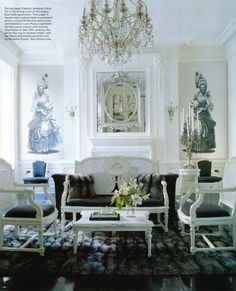 Ahhh, one of my favorite living rooms ever.  The very French apartment of fashion designer Zang Toi.