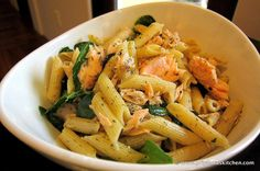 Lemon Penne Pasta with Salmon and Spinach