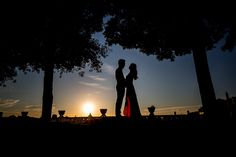 Couple in silhouette photographed by Andrea Matone photographer. #Rome, Italy. #prewedding wedding engagement.