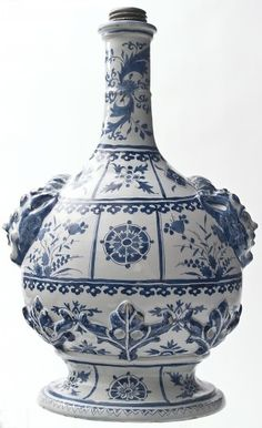 A Pilgrim Bottle in Blue Delftware. Around Delft, The Netherlands. Delft, Blue And White China, Blue China, Glazes For Pottery, Ceramic Pottery, Porcelain Vase, White Porcelain, Yves Klein Blue, Pottery Making