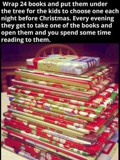 books before christmas. we do this around christmas time at my house! Before Christmas, Winter Christmas, All Things Christmas, Christmas Holidays, Christmas Decorations, Christmas Books, Christmas Countdown, Christmas Gifts For Family, Christmas Ideas For Kids