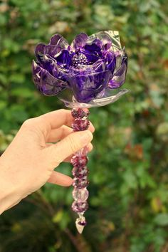 Purple Brooch Bouquet jeweled wedding wand, Chihuly inspired, bridal, heart, vibrant plum flower, lavender Recycled plastic bottle art:) awesome