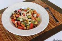 Crunchy Avocado Salad - This is a perfect salad for meatless Monday. It contains garbanzo beans, avocado & a light dressing of lemon juice & olive oil. If you are trying to lighten things up use the baked tortilla chips. I loved this..... Well, anything with cilantro is a home run with me