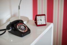 Vintage telephone in boy's bedroom