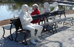 Three Figures and Four Benches - George Segal - Environmental (Land) Art, Pop Art 1979 Line Sculpture, Sculptures, Art Critique, George Segal, Popular Paintings, Pop Art Movement, Art Courses, Art Classroom, Classroom Activities