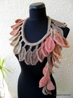 "Tutorial Crochet Pattern PDF File ""Autumn Leaf Fall"" Scarf Lariat, Trendy Crochet Fashion Autumn 2012, Lyubava Crochet Pattern number 50. via Etsy."