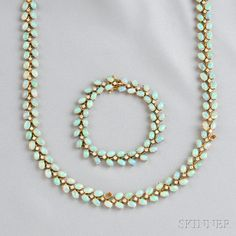 14kt Gold, Opal, and Diamond Necklace and Bracelet