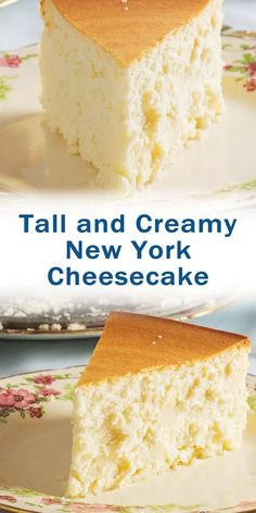Tall and Creamy New York Cheesecake - Cheesecake Desserts, No Bake Desserts, Homemade Cheesecake, Lemon Cheesecake, Best Dessert Recipes, Cookie Recipes, Delicious Desserts, Oreo, Brownie