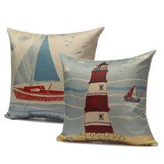Ocean Sailing Boat Tower Throw Pillow Case Sofa Car Back Cushion Cover Home Decor
