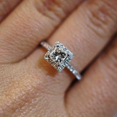 Princess Cut Diamond Halo Engagement Ring - Size 6, via Etsy.
