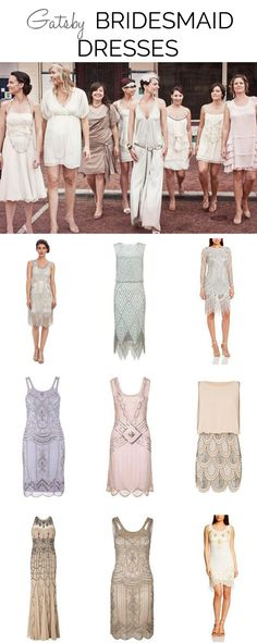 Great Gatsby 1920s Bridesmaid Dresses | SouthBound Bride www.southboundbride.com/great-gatsby-bridesmaid-dresses  Top image credit: Paper + Lace Photography via Green Wedding Shoes