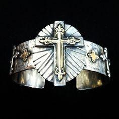 Richard Schmidt Silve and Gold Cross Cuff