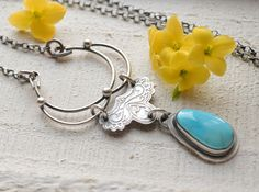 Turquoise Pendant Necklace Lotus Flower Etched Silver Vintage Lace One of a Kind Whimsical Style - Open Spaces