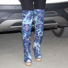Hot Womens Denim Peep Toe Knee High Boots Stilettos High Heel Side Zipper Shoes