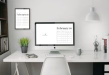 4k February 2019 Wallpaper Calendar For Desktop Background Small Business Cards Pink Business Card Business Card Design