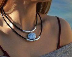 Bohemia necklace,double layer necklace,boho jewelry,hippie necklace,summer necklace,women boho necklace,women leather necklace,silver jewel