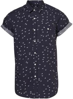 25b028f574 Navy Swallow Print Short Sleeve Shirt Short Sleeve Button Up, Button Up  Shirt Mens,