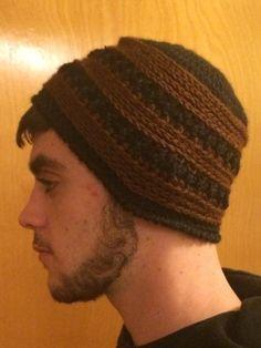 Men's Brown & Black Crochet Hat