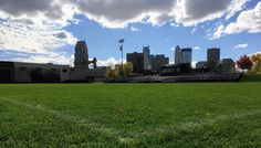 DeLaSalle Athletic Field they share with the Minneapolis Parks and Recreation. Background view of downtown Minneapolis - photo by LocalMN #delasalle #nicolletisland #localmn #mylocalmn