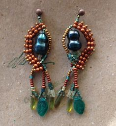 Colorful beaded earrings with teal popcorn pearl by JudesArt, $41.00. SOLD