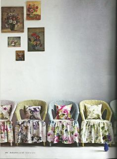 Olivia Gregory  Not this fabric but this is a wonderful idea for the chairs I have on the patio