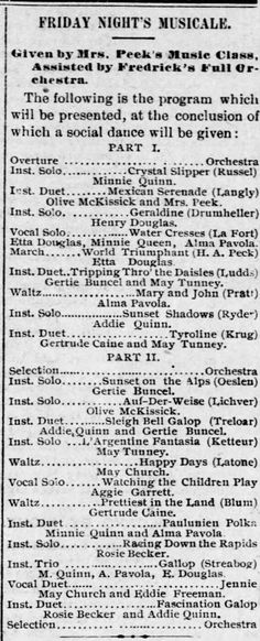 """Reno Gazette-Journal, 8 Sep 1892, Thu, Main Edition  — Gertrude Buncel (Gertie) performs instrumental solo """"Sunset on the Alps"""" and Instrumental duet """"Sleigh Bell Galop"""" at musical"""