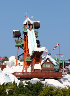 Blizzard Beach - Down you go on Summit Plummet, a thrilling, high-speed waterslide with a 12-story drop.