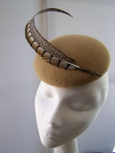 Camel feather cocktail hat BY KAREN GERAGHTY #HatAcademy #millinery