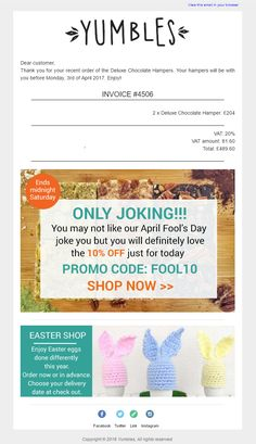 April Fools Day Email from Yumbles, tricking customers into thinking they've placed a very large order #Emailmarketing #Email #Marketing #AprilFoolsDay #Invoice #Coupon #Offer #Discount #Code #April #Fools #Day #Food #Gifts