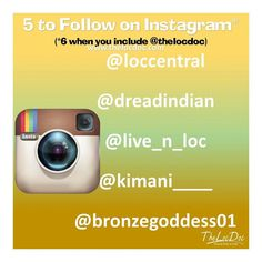 Here is this week's   to follow (besides @thelocdoc ) on Instagram. We hope you  these Instagramers too.    @loccentral  @dreadindian  @live_n_loc  @bronzegoddess01  @kimani_____  #naturalista #dreads #dreadlocks #locnation #locstyles #dreadlocs #teamlocs #loclife #dreadhead #locd #twitter #thelocdoc #locdoc #teamlocs #locjourney #naturalhairjourney #loclife  #starterlocs #lifeisbeautiful #embraceyourjourney #positivevibes #naturalhairstyles #loctician #austinloctician #austinlocs…