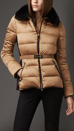 Fur Trim Technical Satin Puffer Jacket | Burberry
