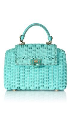 "#turquoise ""Sophia"" wicker tote by Salvatore Ferragamo, Resort 2013 at Moda Operandi"