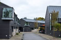 The Things I Enjoy: Vandkunsten architects: 58 modern homes in the old Swedish fishing village Viken New Zealand Architecture, Facade Architecture, School Architecture, Residential Architecture, Home Design Floor Plans, House Floor Plans, Style At Home, Arch House, Building Facade