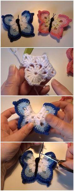 DIY Crochet 3D Butterfly Free