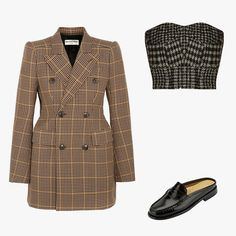 Balenciaga hourglass double-breasted checked wool blazer, price upon request, net-a-porter.com; Raey cropped herringbone corset top, $294, matchesfashion.com; G.H. Bass & Co. women's Wynn mules, $110, 1.macys.com