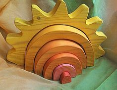 Wooden Sunshine Stacking Puzzle // Made to by SimpleGiftsToys, $32.00