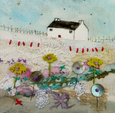 'Little Hill Cottage' by Louise O'Hara of DrawntoStitch www.facebook.com/DrawntoStitch