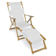 Frankford Umbrella Commercial Oak Wood Beach Chairs White - FC101-WHA