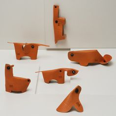 Scrap Leather Animal Toys - with strategic cuts and rivet location, flat scrap becomes dimensional toy - sabrina