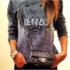 Kenzo sweater, sweatshirt, chanel bag