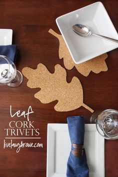 DIY Cork Leaf Trivets with livelaughrowe.com