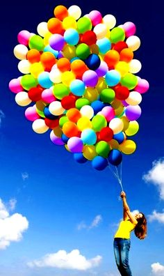 Rainbow Balloons With Girl IPhone Wallpaper Mobile Wallpaper Rainbow Balloons, Colourful Balloons, Colorful, Happy Balloons, True Colors, All The Colors, Vibrant Colors, Taste The Rainbow, Over The Rainbow